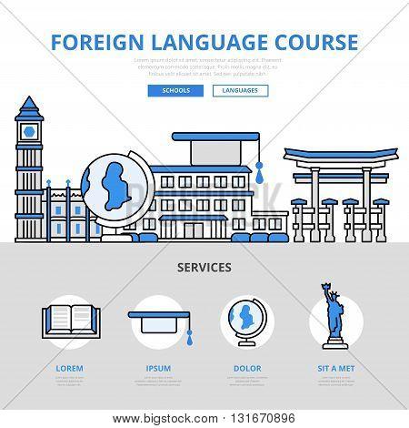 Foreign language course concept flat line art vector icons