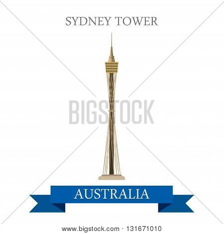 Sydney tower Australia vector flat attraction landmarks