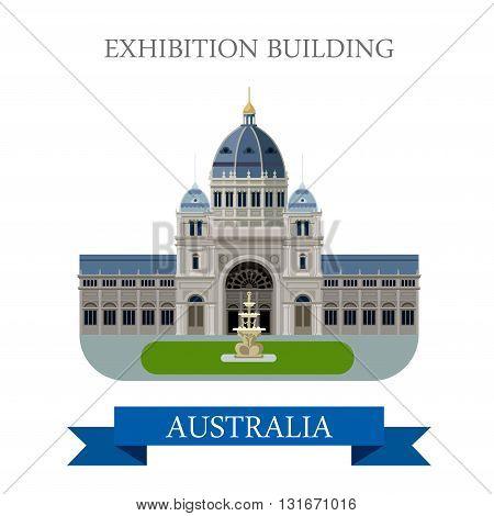 Royal Exhibition building Melbourne Australia vector flat