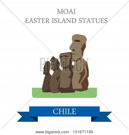 Moai Easter Island Statues in Chile vector flat attraction