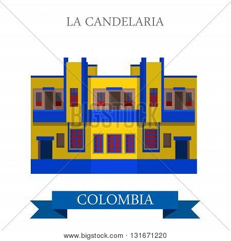 La Candelaria in Bogota Colombia vector flat attraction landmark