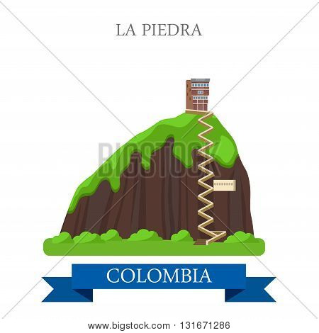 La Piedra in Colombia vector flat attraction landmarks