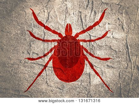 Insect silhouette.Tick parasite. Sketch of Tick. Mite icon. Concrete textured