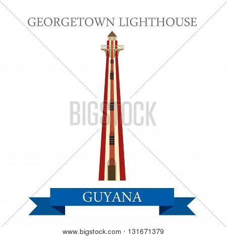 Georgetown Lighthouse in Guyana vector flat attraction landmarks