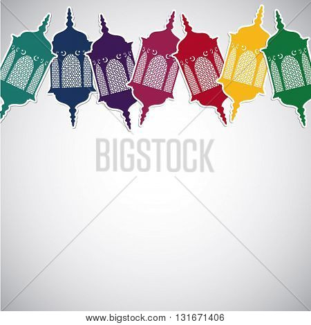 Bright Moroccan Lantern Card In Vector Format.
