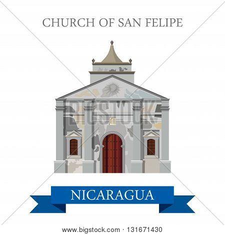 Church of San Felipe Nicaragua vector flat attraction landmarks