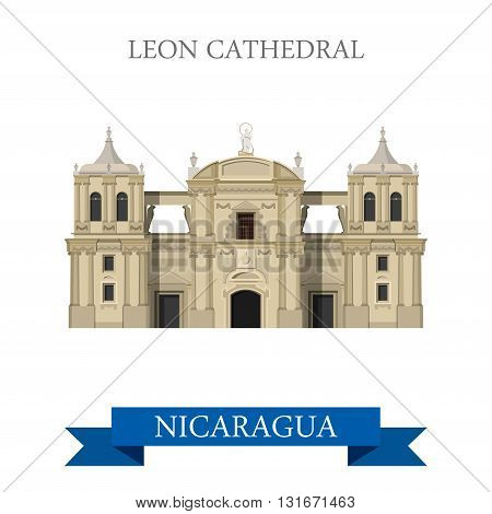 Leon Cathedral in Nicaragua vector flat attraction landmarks