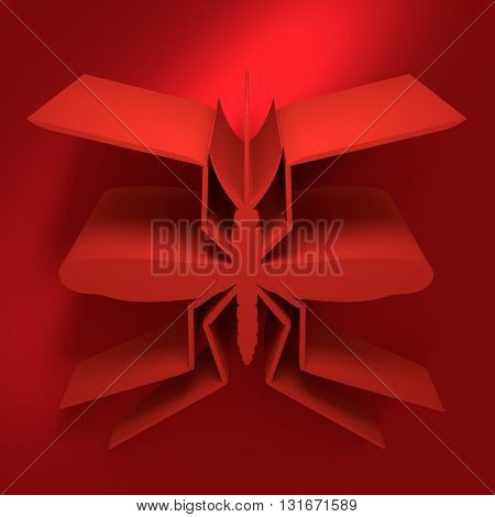Virus diseases transmitter. Mosquito silhouette. 3D rendering