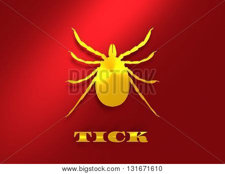 Insect silhouette.Tick parasite. Sketch of Tick. Mite icon. 3D rendering