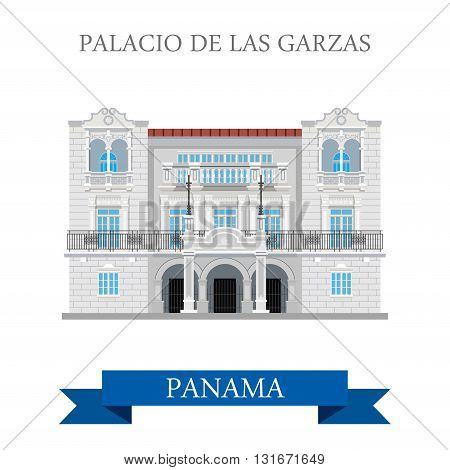 Palacio de Las Garzas in Panama vector flat attraction landmarks