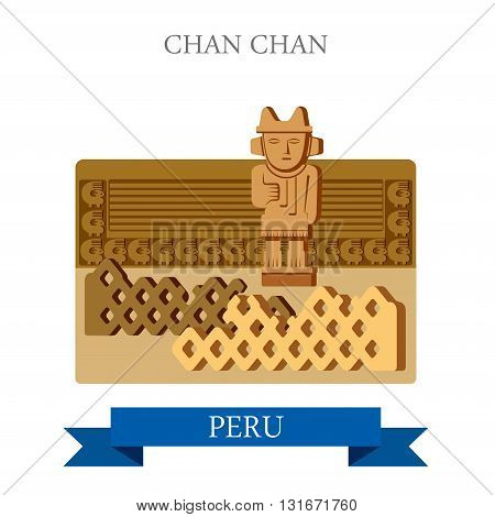 Chan Chan in Trujillo Peru vector flat attraction landmarks