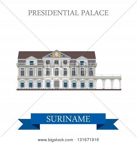 Presidential Palace in Suriname vector flat attraction landmarks