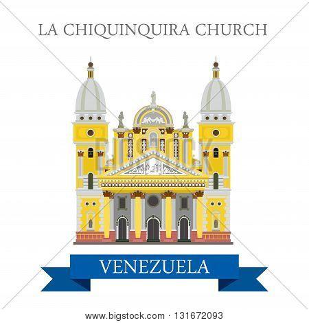La Chiquinquira Church in Venezuela vector flat attraction