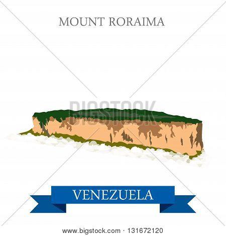 Mount Roraima in Venezuela vector flat attraction landmarks