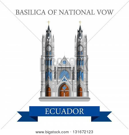 Basilica of National Vow in Ecuador vector flat attraction