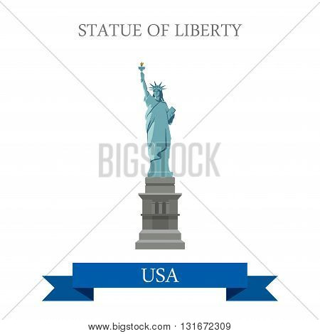 Statue of Liberty New York NY United States USA vector flat