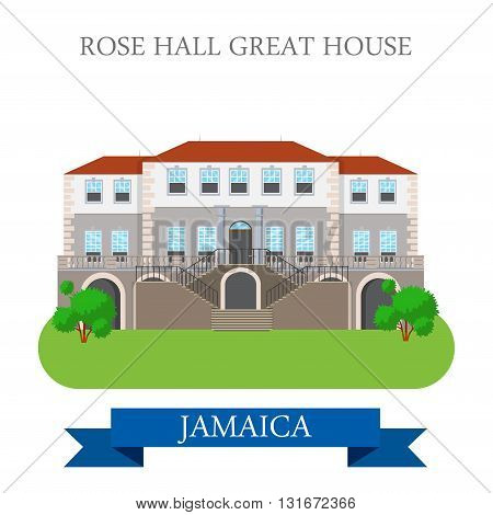 Rose Hall Great House in Jamaica vector flat attraction landmark