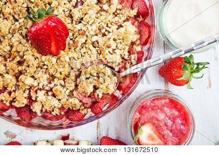 Rhubarb And Strawberry Crumble With All Ingredients