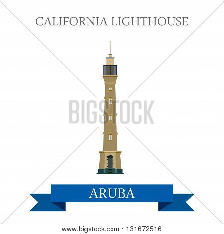 California Lighthouse in Aruba vector flat attraction landmarks