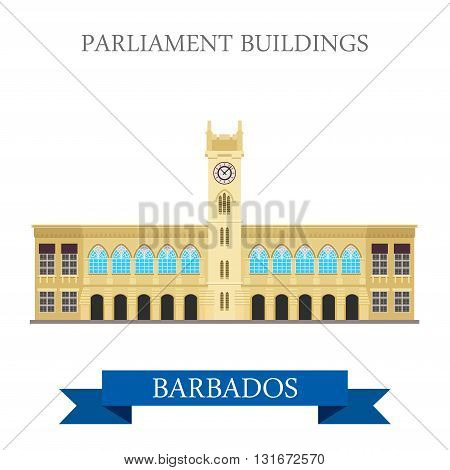 Parliament Buildings Barbados vector flat attraction landmarks