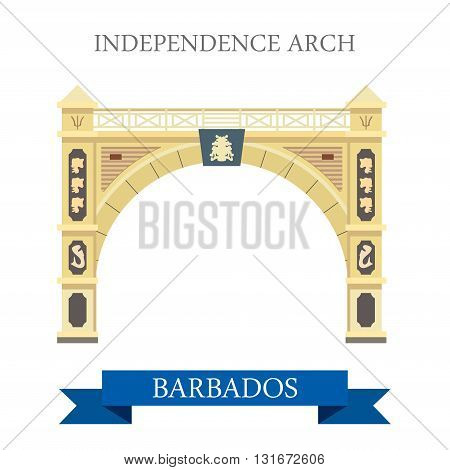 Independence Arch in Barbados vector flat attraction landmarks