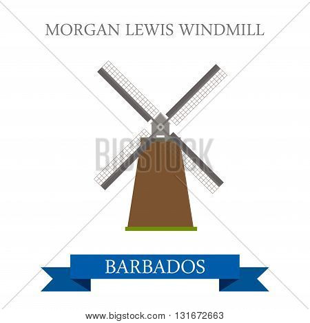Morgan Lewis Windmill Barbados vector flat attraction landmarks
