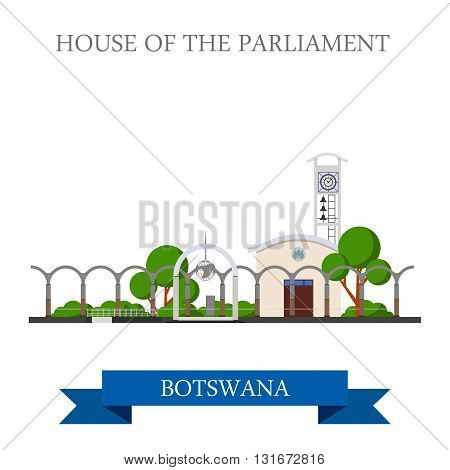 House of the Parliament Botswana vector flat attraction landmark
