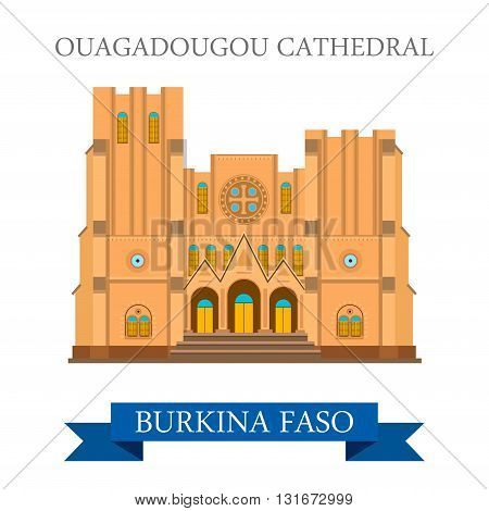 Ouagadougou Cathedral Burkina Faso vector flat Africa attraction