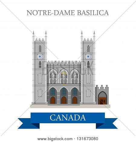 Notre-Dame Basilica in Montreal Canada vector flat attraction