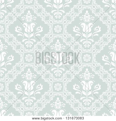 Seamless oriental ornament in the style of baroque. Traditional classic vector pattern. Light blue and white pattern