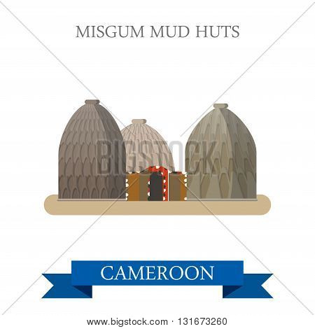 Musgum Mud Huts Cameroon vector flat Africa attraction landmarks