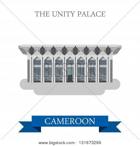 Unity Palace Yaounde Cameroon vector Africa attraction landmarks