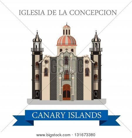 Iglesia de la Concepcion Canary Islands vector flat attraction