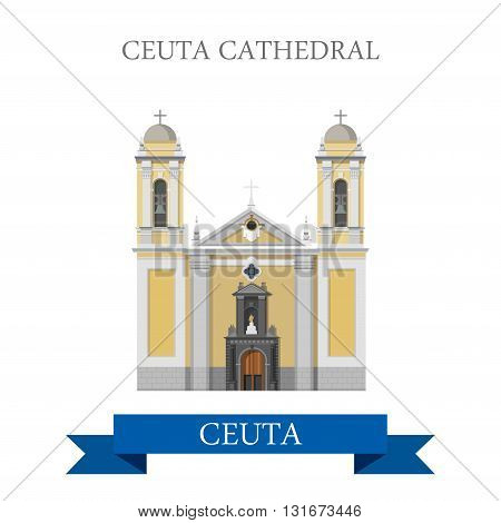 Ceuta Cathedral vector flat Africa attraction landmarks