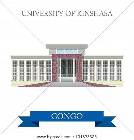 University of Kinshasa Congo vector flat Africa attraction
