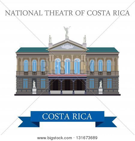 National Theatre of Costa Rica vector flat attraction landmarks