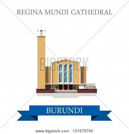 Regina Mundi Cathedral in Burundi vector flat Africa attraction