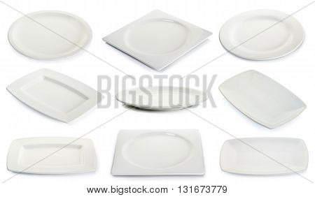 Empty White Square Plate Isolated On White