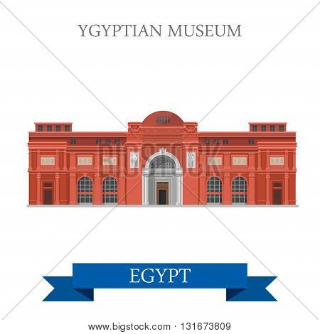 Egyptian Museum Cairo Egypt vector flat Africa attraction