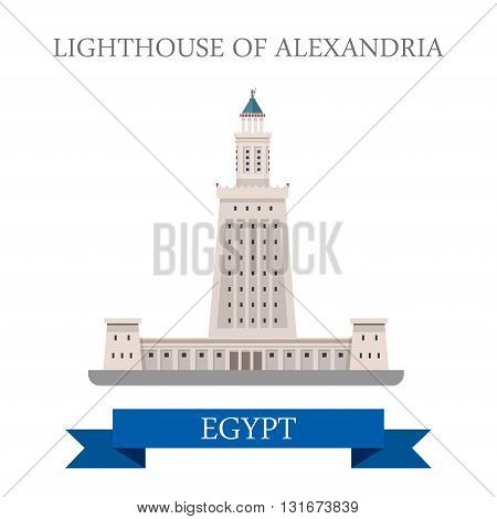 Lighthouse of Alexandria in Egypt vector flat Africa attraction
