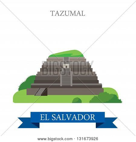 Tazumal in El Salvador vector flat attraction landmarks