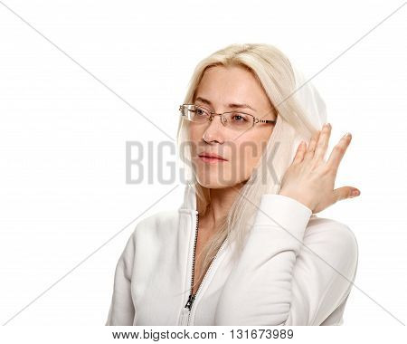 fitness woman with spectacles. Young sporty Caucasian female model on white background
