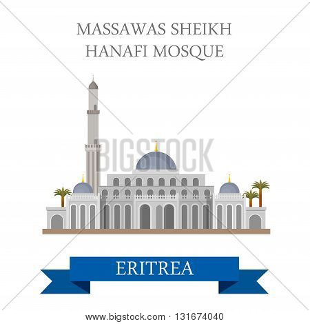 Massawas Sheikh Hanafi Mosque in Eritrea vector flat attraction