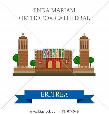 Enda Mariam Coptic Orthodox Cathedral Eritrea vector flat Africa
