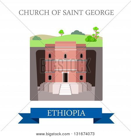 Church of Saint George in Ethiopia vector flat Africa attraction