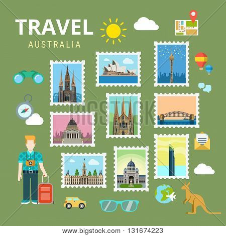 Travel Australia New Zealand flat vector tourism landmark
