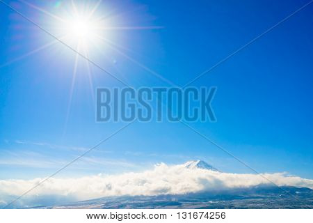 Mountain Fuji with blue sky and sun, Japan