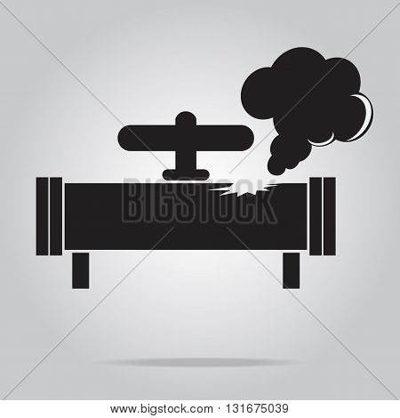 Gas leak pipe icon. Pollution Gas Pipe icon sign vector illustration