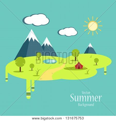 Summer camping concept. . Vector signs, elements for your design. Sun, clouds, mountains vector elements. Vector summer trip. Eps10