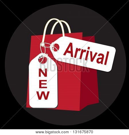 Shopping paper bag with sale tag icon sign vector illustration